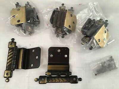 "8 Pair NOS CABINET HINGE 3/8"" INSET ANTIQUE BRASS-PLATED Cupboard Retro Hardware"