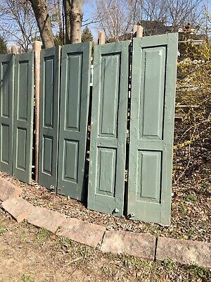 Vtg Pair 1800's Old  Wooden Window Shutters Architectural Salvage 59 X 14.5