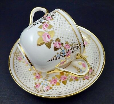 Antique Copelands Soup Cup & Saucer Made for Tiffany Roses & Gold