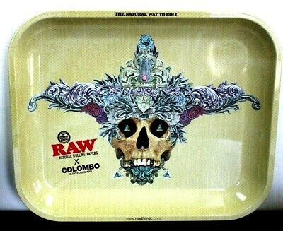 RAW COLOMBO Cigarette Tobacco Metal LARGE Rolling Tray 13x11
