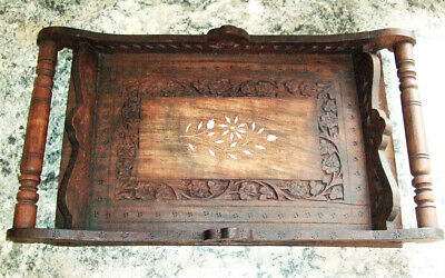 Antique Arts and Crafts era tray, serving tray, wooden, decorative, unvarnished