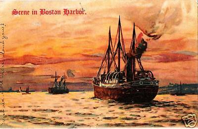Postcard Scene in Boston Harbor 1908 Undivided Back