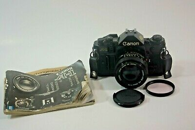 Canon A-1 35mm SLR Film Camera with FD 50mm F/14 Lens Works With Issues