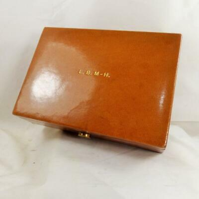 ANTIQUE small GENTLEMAN'S LEATHER BOX c1880 VINTAGE L.B. M-H initials