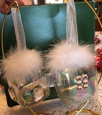 Pair Of Lovely Cube Box Square Shaped Clear Glass Ornaments~Feathers Rhinestones