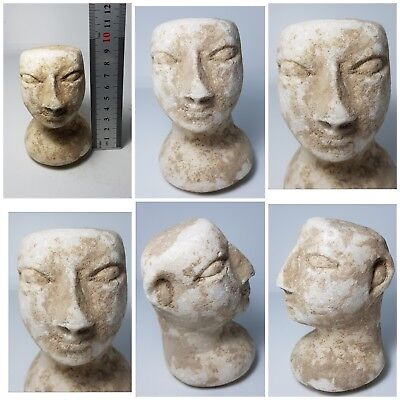 Ancient bactrian the most rare gigantic  alabaster stone head statue