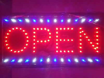 LED Open Sign Board Super Bright Flashing Bar Cafe Shop Window Display