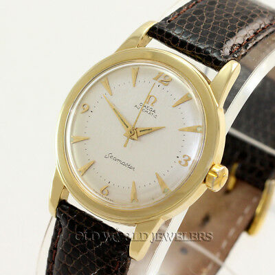 Omega Vintage Seamaster Ref GX6546 Automatic Silver Dial 14K Yellow Gold 1950's