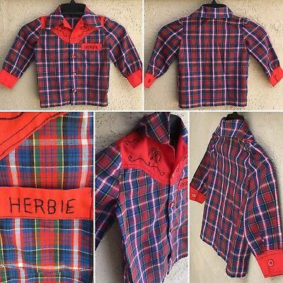 Vintage Kids Plaid Western Shirt Embroidered HERBIE Super Thin Cowboy Buckaroo