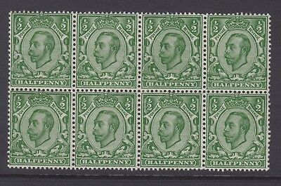 Block of 8 GB KGV 1/2d Green SG339 George V 1912 Mint Hinged Downey Stamps