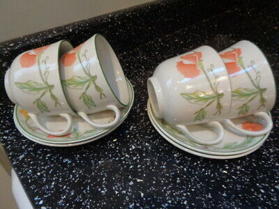 Johnson Brothers Summer Delight Cups And Saucers X 4