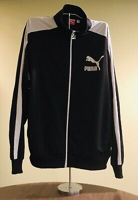 2fcaa71db318 Puma Sport Lifestyle Black White Full Zip Up Warm Up Track Jacket Size XL