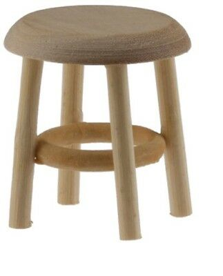 Dollhouse Miniatures 1:12 Scale Stool, Unfinished, 1-1/2 Inch #CLA08705