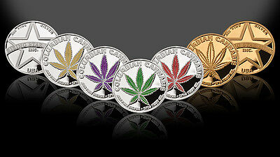 Set of 5 -1/10th Troy Oz .999 Solid Fine Silver Columbian Cannabis Rounds/Coins