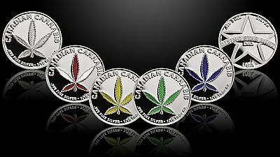 Set of 5 -1/10th Troy Oz .999 Solid Fine Silver Canadian Cannabis Rounds/Coins