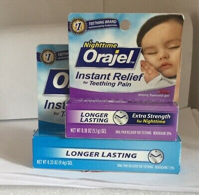 New 2 Pk Night Day time Orajel Instant Relief For Teeting Pain Expire : 07/19