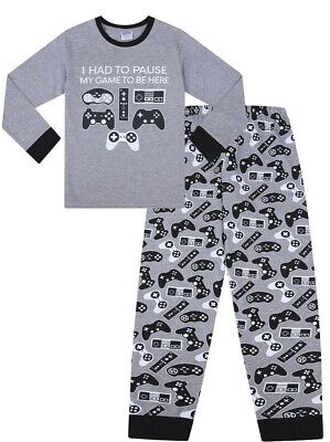 I had to Pause My Game To Be Here Controllers  Grey Cotton Long Boys  Pyjamas