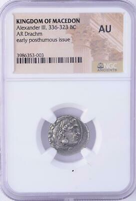NGC AU (Almost Uncirculated) Ancient Alexander the Great Silver Drachm Coin