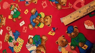 Novelty Juvenile Cotton Quilt Fabric Love Teddy Bear Cranston Red BY THE YARD