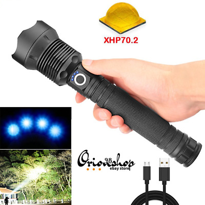 50000 lumens Flashlight Rechargeable Zoomable Tactical LED Torch Lamp Light USB
