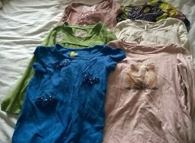 bundle girl 7-8 years tops Next embroidered sequin pink blue grey star green