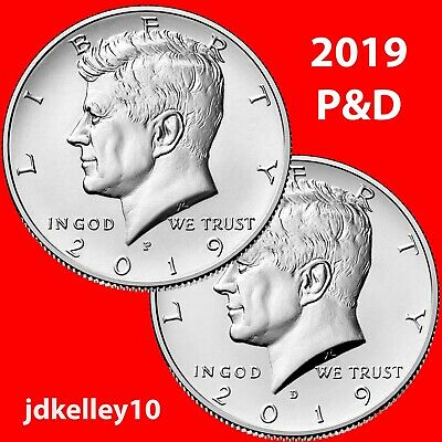 2019 P&D KENNEDY HALF DOLLAR 50c CLAD TWO COIN SET UNCIRCULATED COINS