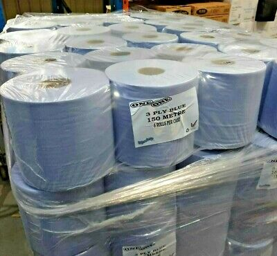6 x Blue 3 Ply Industrial Centrefeed Rolls 150M 190mm Heavy Duty Towels no 2 Ply