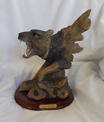 "Herco Gift Wolf Figurine Reverie Collection Vintage MultiColor 11.6"" X 9.5"" Base"