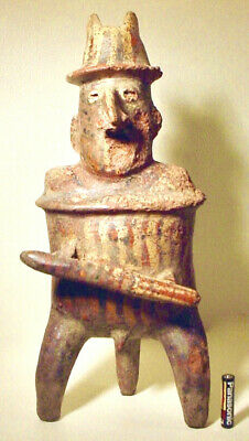 Pre-Columbian TALL NAYARIT WARRIOR W/ROGERS COA