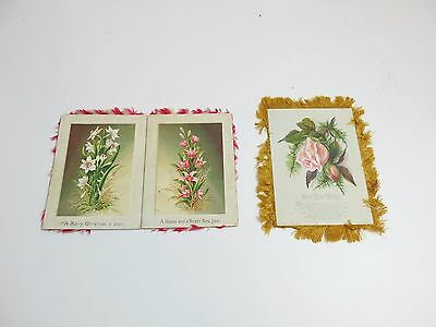 Lot Of 2 Antique / Vintage Christmas And New Years Double Sided Postcard Fringed