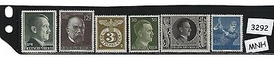 #3292   Stamp set / Third Reich / Adolph Hitler / All Stamps MNH / Nazi Germany