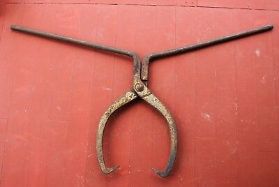 Antique Vintage Rare HUBBARD 2 Man Logging Tongs - Log Blacksmith Ice Railroad