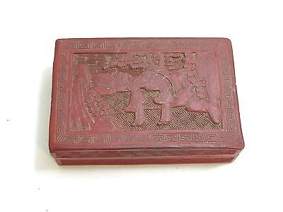 Vintage / Antique Chinese Red Cinnabar Lacquer Box Landscape And 2 Figure Scene