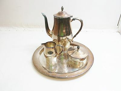 Vintage Paul Revere Reproduction Coffee Set With Tray By Wm A Rogers Silverplate