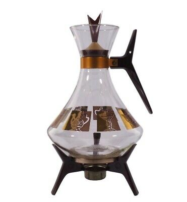 Mid Century Modern Coffee Maker Carafe and Warmer 22K Gold 1960s by Inland Glass