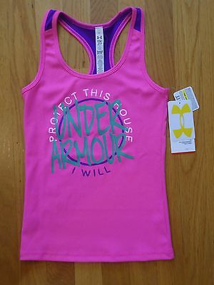 Nwt Under Armour Victory Tank Top Shirt Fitted Pink Girls Medium Large