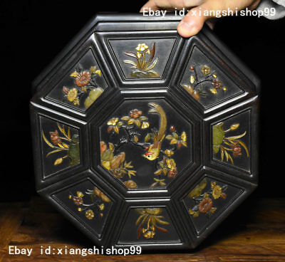 "11"" Old China Rosewood Wood Inlay Jade Gem Bird Flower design casket Jewelry Box"