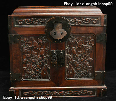 """13"""" China Huanghuali Wood handcrafted Bird Flowers Statue Drawer Jewel Case Box"""