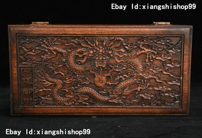 """11"""" China Huanghuali Wood handcrafted Flying Dragon Jewelry Box Container Boxes"""