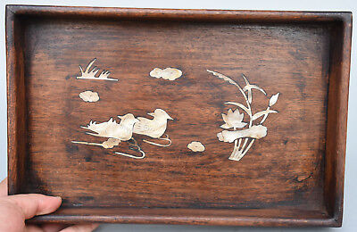"""13"""" Chinese Rosewood Wood Inlay shell mandarin duck Pallet Tray Shallow Saucer"""