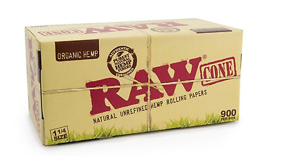 RAW Organic Pre-Rolled Cone 1 1/4 Size with 900 cones 100% AUTHENTIC