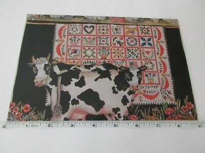 Tin Sign Wall Decor Quilt Cows Black White Kitchen Crafts Sewing Farmhouse
