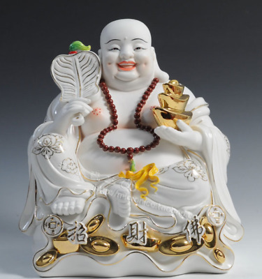 "12"" Chinese Dehua Colour Porcelain Happy Laugh Maitreya Buddha Wealth Fan Statue"