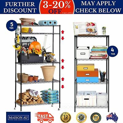 Wire Shelf Shelving Unit Kitchen Storage Steel Trolley Adjustable Shelf Height