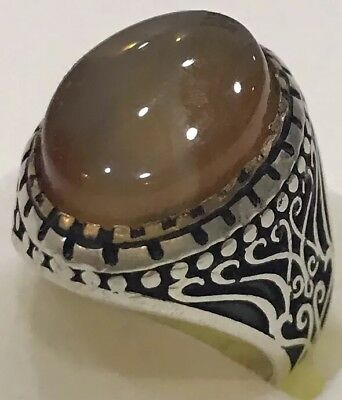 Silver Yemeni Multi-Color aqeeq agate Men Ring, aqiq, akik عقيق يماني