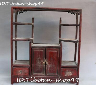 Chinese Red sandalwood Carving Ancient Bogie Frame Antique Shelf Stand Statue