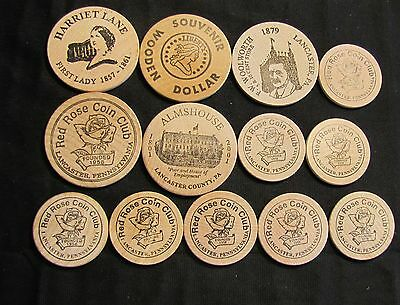 Lot of 13 Red Rose Coin Club Lancaster PA Wooden Nickels