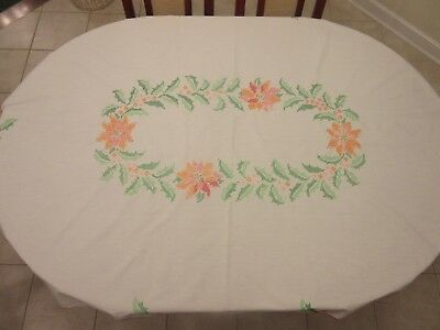 Antique Square Table Cloth -- White W. Hand Embroidered Orange/Red Flowers