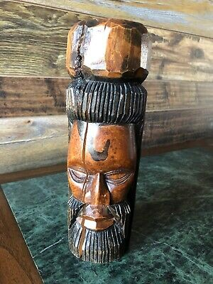 VTG Jamaican Carved Tiki Totem Dual Man-Woman Carved Wood Head