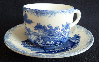 Antique Ridgways Blue & White China Cup Saucer Charles Dickens Old Curisity Shop